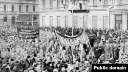 Солдатская демонстрация в Петрограде, 1917 год.