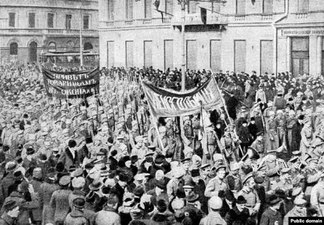 Солдатская демонстрация в Петрограде, 1917 год