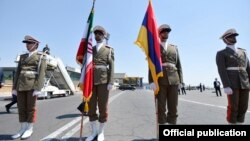 Iran - An Iranian honor guard displays Iranian and Armenian national flags at an official ceremony in Tehran, 7 August 2017.