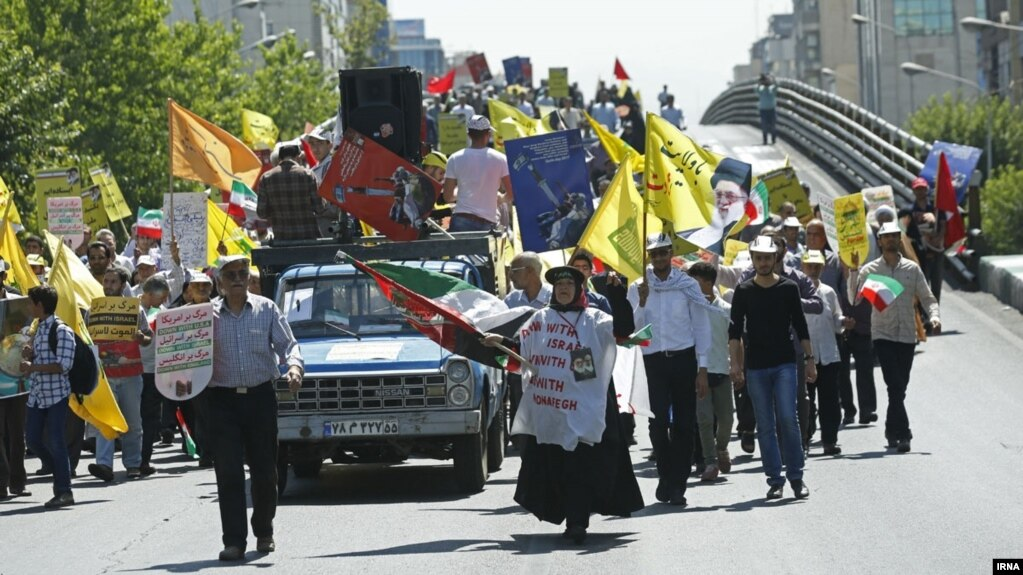 A parade marking Al-Quds International Day takes place in Tehran on June 23.
