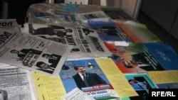 Агитационные материалы политических партий перед парламентскими выборами в Таджикистане. 20 февраля, 2010 года.