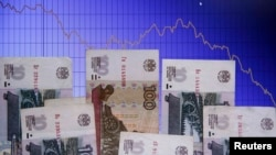 The Russian ruble has lost around 40 percent of its value against the dollar in the past year. (file photo)