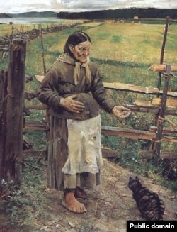 Akseli Gallen-Kalella, «Staraja žančyna z katom» (1885)