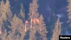 Foto nga helikopteri të kasolles së të dyshuarit