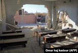 Последствия удара по школе в Хассе, 2016 год