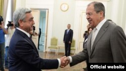 Armenia - President Serzh Sarkisian meets with Russia's visiting Foreign Minister Sergey Lavrov, Yerevan, 23Jun2014.