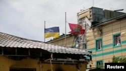 Поврежденное здание пограничников, 3 июня 2014 года