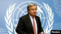 Switzerland -- Antonio Guterres, United Nations High Commissioner for Refugees (UNHCR), attends a news conference at the United Nations in Geneva, December 18, 2015