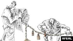 Karikaturany çeken Mihail Zlatkowski