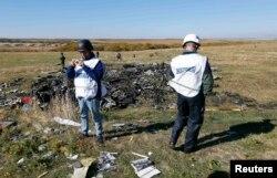 "Представители миссии ОБСЕ на месте крушения ""Боинга"" под Донецком"
