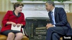 Дилма Русеф и Барак Обама в Вашингтоне, 9 апреля 2012 г.
