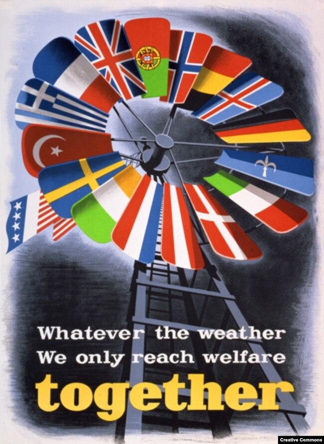 """Пропагандистский плакат, посвященный """"плану Маршалла"""", 1948 год"""