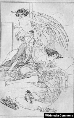 """Almaniya - """"Min bir gecə""""yə illüstrasiya, rəssam Franz von Bayros, 1913"""