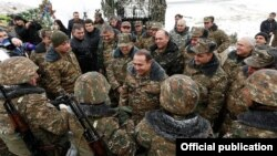 Armenia - Prime Minister Hovik Abrahamian talks to soldiers serving on the border with Azerbaijan, 30Dec2015.