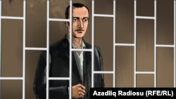 На иллюстрации – активист азербайджанской оппозиционной партии Фуад Ахмедли за решеткой.