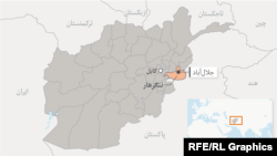 A map produced for RFE/RL's Radio Free Afghanistan with Nangarhar Province marked in orange.