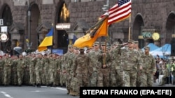 Військові армії США на репетиції параду в Києві з нагоди Дня Незалежності України. Київ, 22 серпня 2018 року