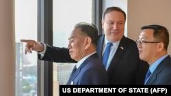 در این تصویر که وزارت خارجه آمریکا آن را در اختیار رسانهها قرار داده: مایک پومپئو، کیم یانگچال در جریان دیدار در نیویورک