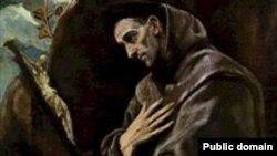 تصویر نقاشی از فرانسوای اسیزی که در قرون وسطی فرقه فرانسیسکن ها را پایه گذاری کرد.
