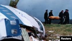 محل سقوط هواپیمای مسافربری در لاکربی. ۲۲ دسامبر ۱۹۸۸