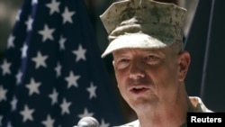 Afghanistan -- US General John Allen, commander of the North Atlantic Treaty Organization (NATO) forces in Afghanistan, speaks during US Independence Day celebrations in Kabul, 04Jul2012