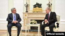 Russia -- Meeting of Armenian President Serzh Sarkisian with his Russian counterpart Vladimir Putin, Moscow, 10Mar2016