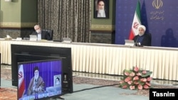 Supreme Leader Ali Khamenei joining coronavirus meeting via video link. May 10, 2020