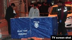 Turkish police at the scene in Istanbul where Umarali Quvatov was shot from close range on March 5.