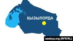 Қызылорда облысының аумақтық картасы. (Көрнекі сурет).