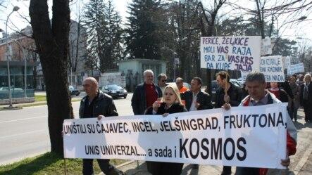 Protest radnika Kosmosa u Banjoj Luci 20. marta