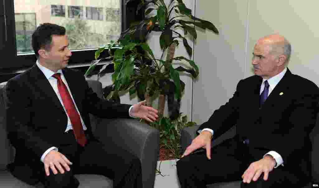 Повторување на старите позиции? - Премиерите на Македонија и Грција Никола Груевски и Јоргос Папанреду на средба во Брисел