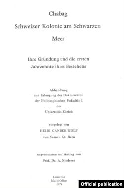Teza de doctorat despre Șabo (Șabag) a istoricei elvețiene Heidi Gander-Wolff