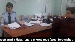 Дмитрий Диденко в отделе полиции 24 февраля 2018 года