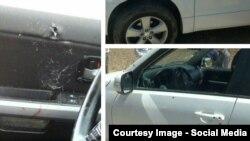 تصویر ترکیبی از چند عکس منتشر شده از خودروها هدف قرار گرفته