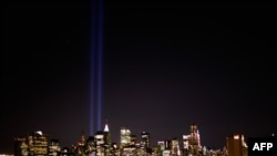"The ""Tribute in Light"" beams at Ground Zero in New York, which were used to great effect in Spike Lee's ""25th Hour."""