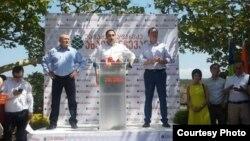 На сегодняшней презентации лидеры нового блока «Вашадзе - Джапаридзе - Новый выбор» объяснили, почему оказались в одной упряжке. Фото: kvira.ge