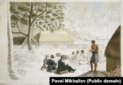 A man (left) mashing breadfruit and coconut together for a breakfast for three of the Russian commanders and village leaders in Tahiti in 1821.