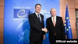 Președintele Klaus Iohannis cu secretarul-general al Consiliului Europei, Thorbjorn Jagland, la Strasbourg