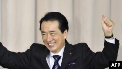 Naoto Kan moments after his election to head the ruling Democratic Party of Japan (DPJ) on June 4