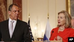 Russian Foreign Minister Sergey Lavrov and U.S. Secretary of State Hillary Rodham Clinton at the State Department in Washington in July.