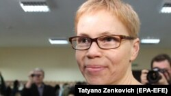 Maryna Zolatava in a Minsk courtroom prior on February 12.