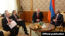 Armenia - Armenian President Serzh Sarkisian meets with the OSCE Minsk Group co-chairs in Yerevan,17 Feb, 2015