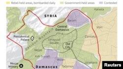 Harta e pjeseve te kontrolluara nga qeveria dhe e atyre nga kryengritesit ne dhe perreth Damaskut