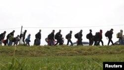 Գերմանիա - Փախստականները հատում են գերմանա-ավստրիական սահմանը, 12-ը նոյեմբերի, 2015թ.
