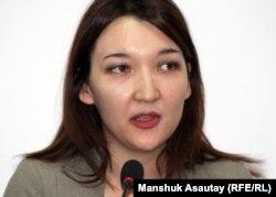 «Article 19» ұйымының Орталық Азиядағы өкілі Рината Әлібекова. Алматы, 2 мамыр 2012 жыл.