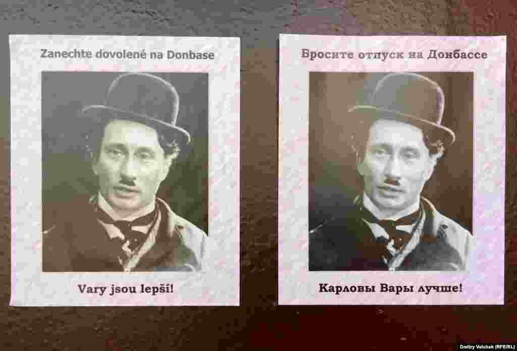 Таинственные карловарские партизаны в прошлом году расклеивали листовки про аннексию Крыма, сейчас же превратили Путина в Чаплина и призывают россиян не проводить отпуск в Донбассе