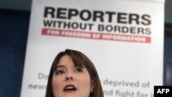"""Делфин Хэгланд - глава американского отделения """"Репортеров без границ"""" на презентации """"Всемирного индекса свободы прессы"""""""