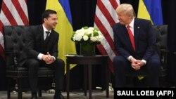 Президенти України і США Володимир Зеленський і Дональд Трамп під час зустрічі у Нью-Йорку, 25 вересня 2019 року