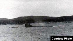 Фотография подводной лодки К-19, на которой видны члены экипажа. Норвежское море, 3 июля 1961 года.