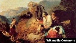 Дэніэл Макдональд, «Ірляндзкая сялянская сям'я знаходзіць гніль на сваёй бульбе» (1847).